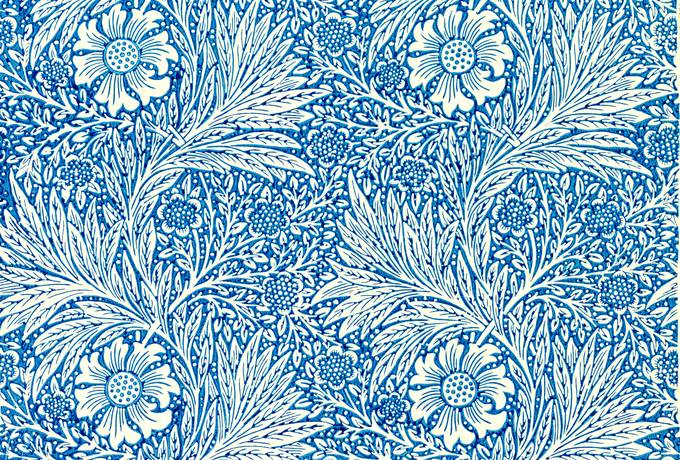 free Marigold Blue Pattern by William Morris texture