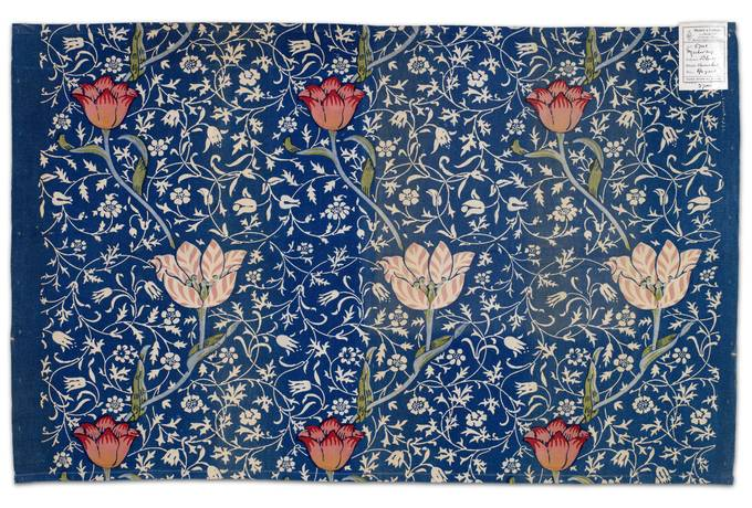 Printed Blue Textile with Tulips