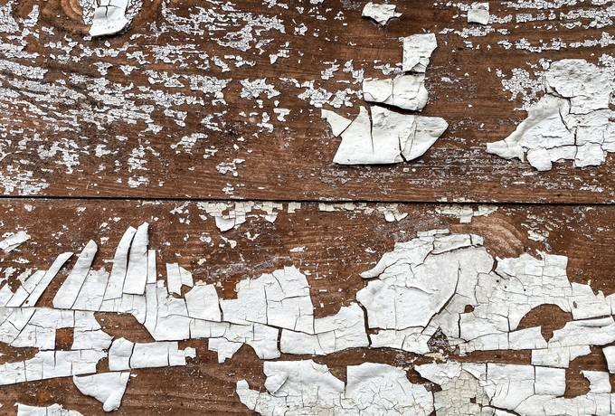 Cracked White Paint on Wood