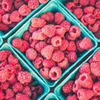 Fresh Raspberries in Boxes