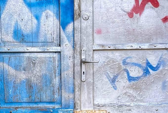 free Blue Grunge Door texture