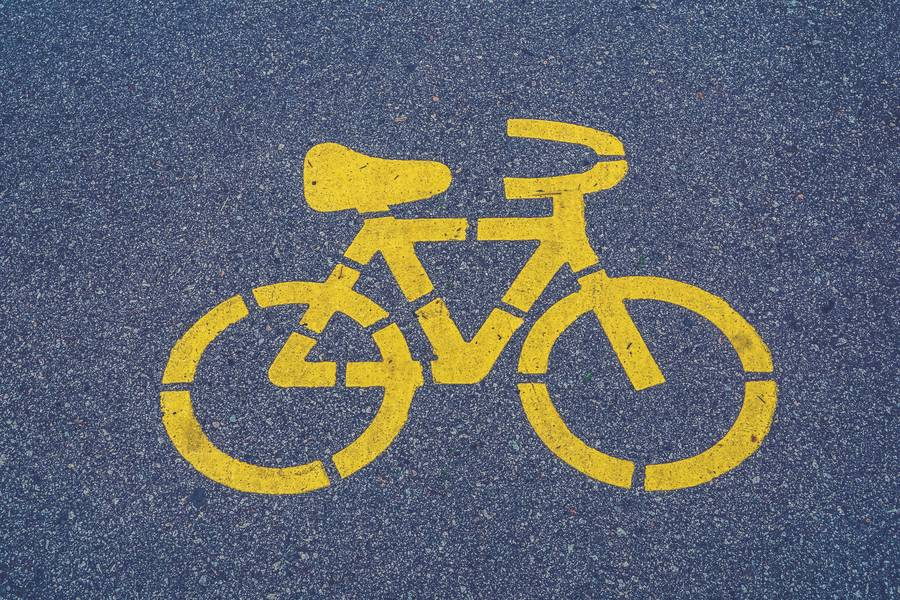 Bicycle Lane Sign on Asphalt free texture