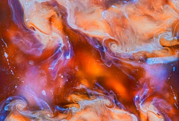 Liquid Orange Marbled Pattern