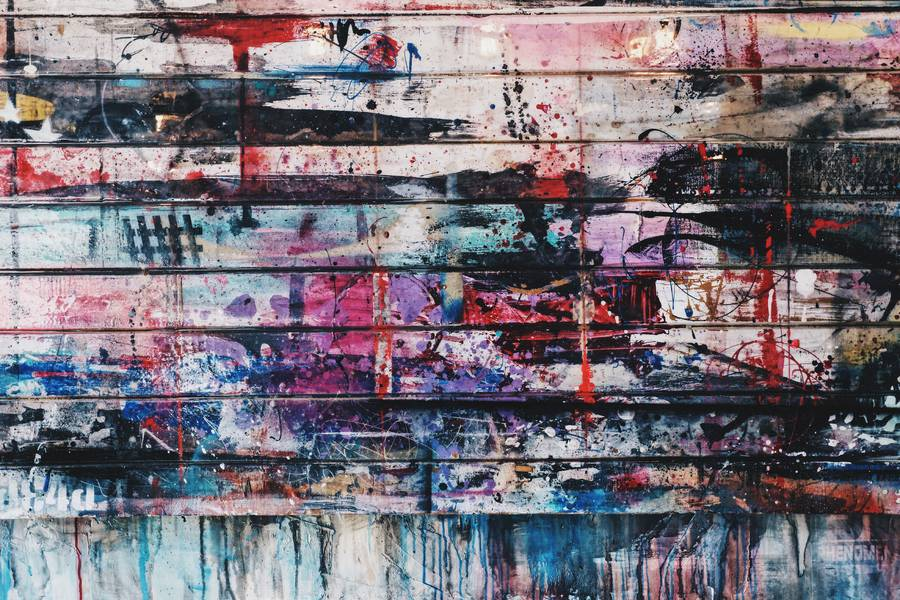 Grunge Colorful Paint on Wooden Plank Wall free texture