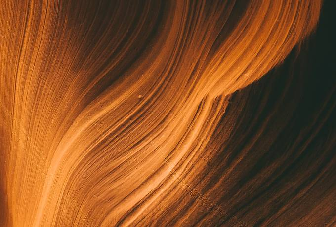 Orange Curved Walls of Sandstone at Antelope Canyon
