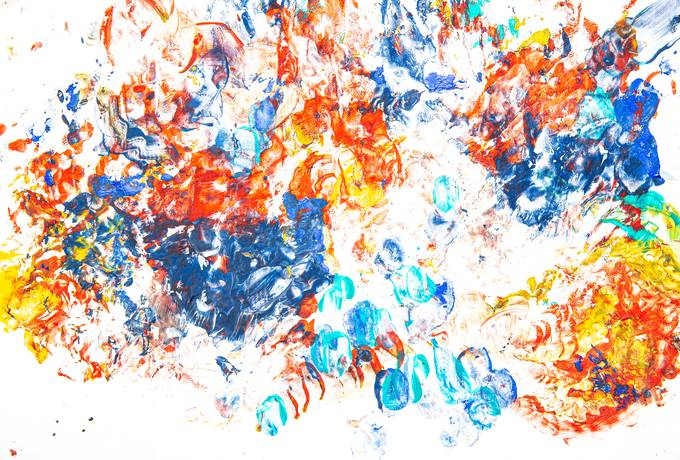 Colorful Abstract Painted with Fingers