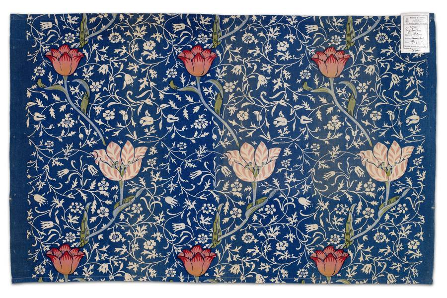 Printed Blue Textile with Tulips free texture