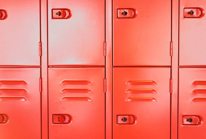 Close Up of Red School Lockers