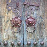 Old Chinese Door with Knockers