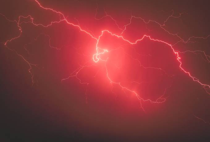 free Lightnings in Stormy Red Sky texture