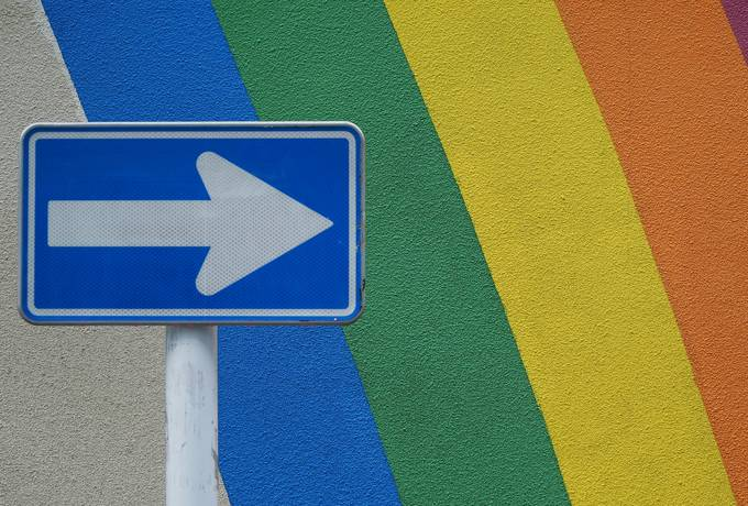 free Arrow Sign in Front of Rainbow texture