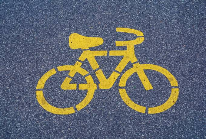 free Bicycle Lane Sign on Asphalt texture