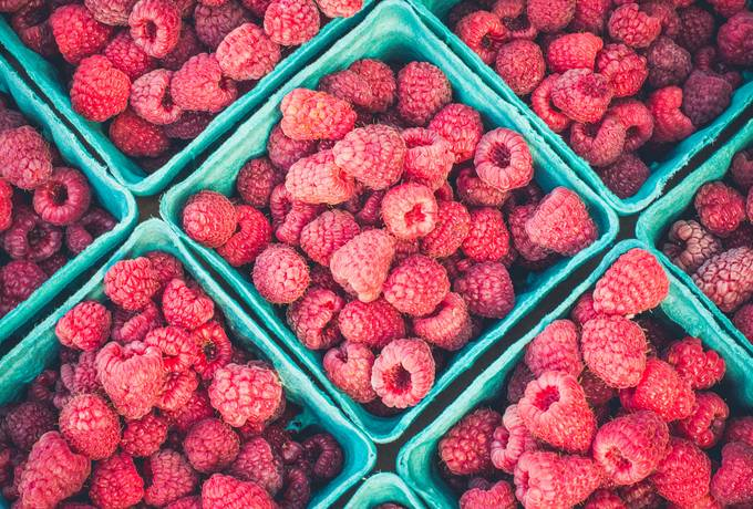 free Fresh Raspberries in Boxes texture