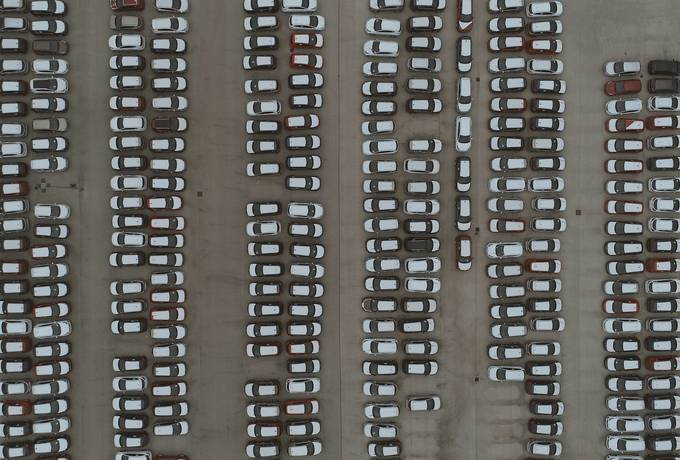 Parking with Parked Cars Aerial View