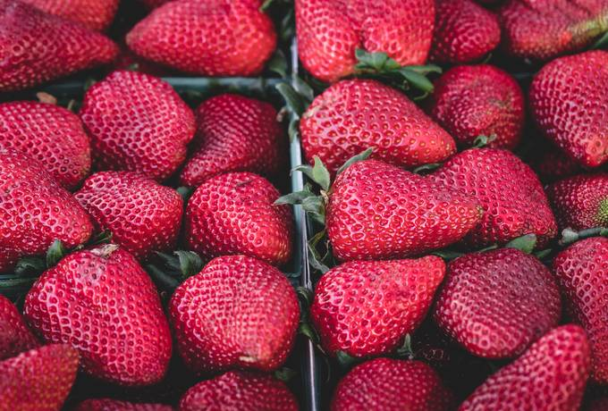 free Top View of Tasty Strawberries texture