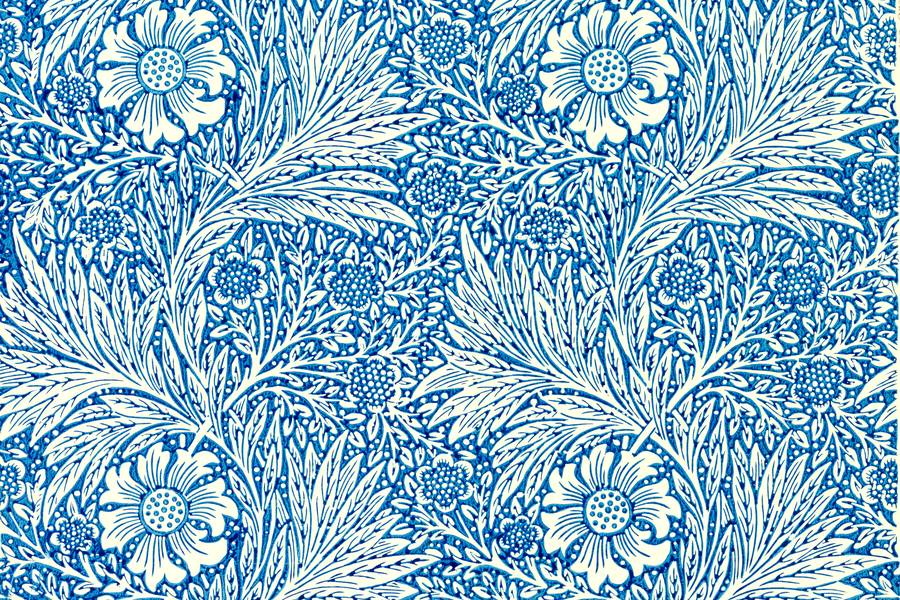 Marigold Blue Pattern by William Morris free texture
