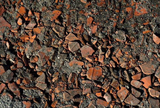 debris brick ground
