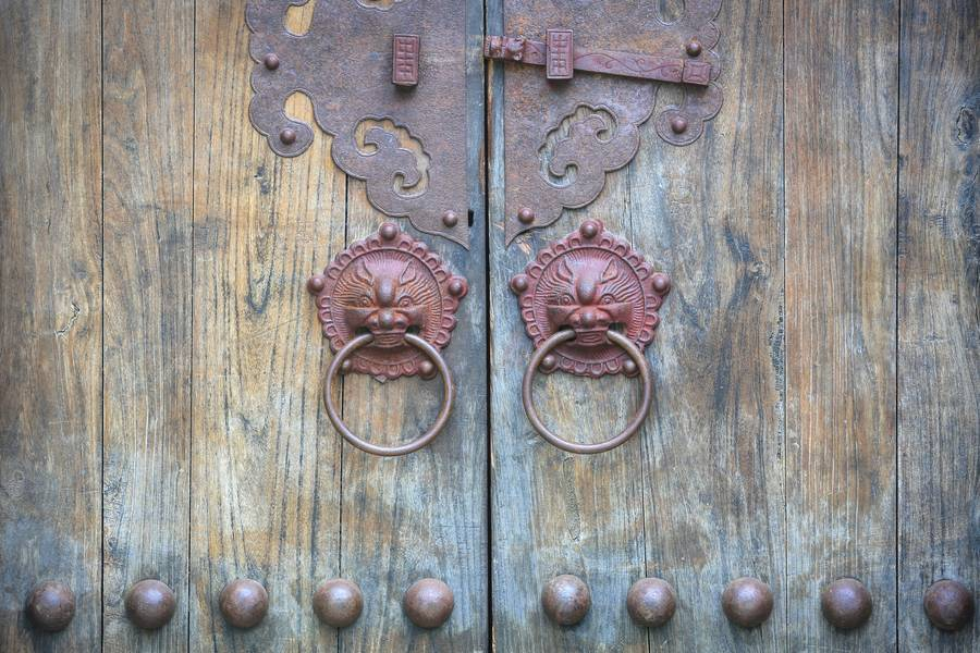 Old Chinese Door with Knockers free texture