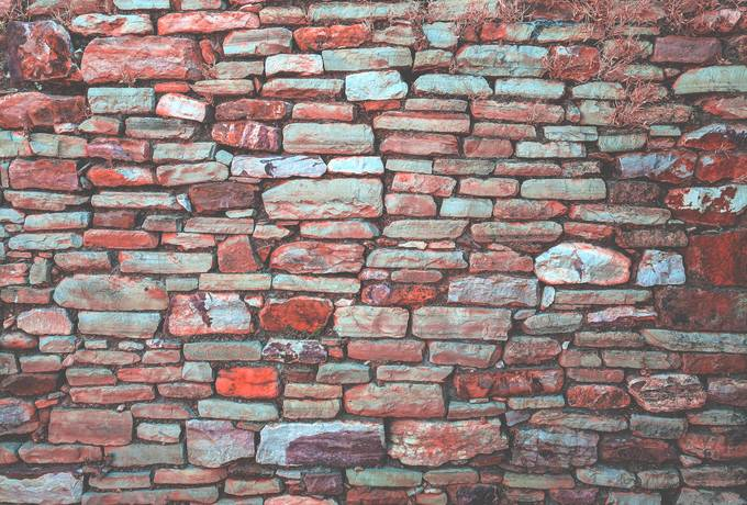 Old Red Stone Brick Wall