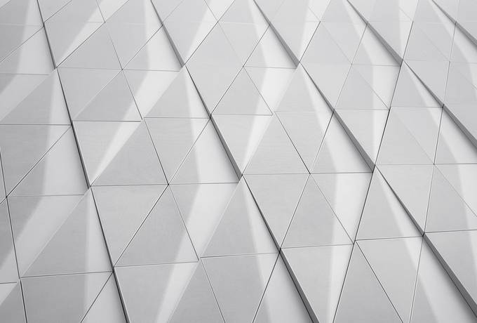 Abstract Closeup  of Modern Building Triangles on Facade