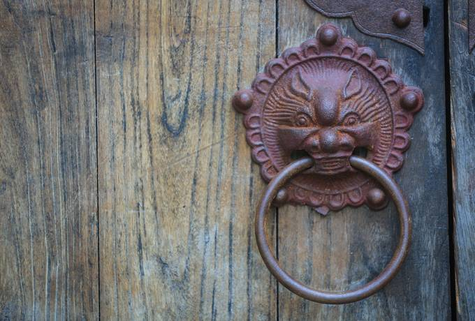 free Old Asian Door Knocker Close Up texture