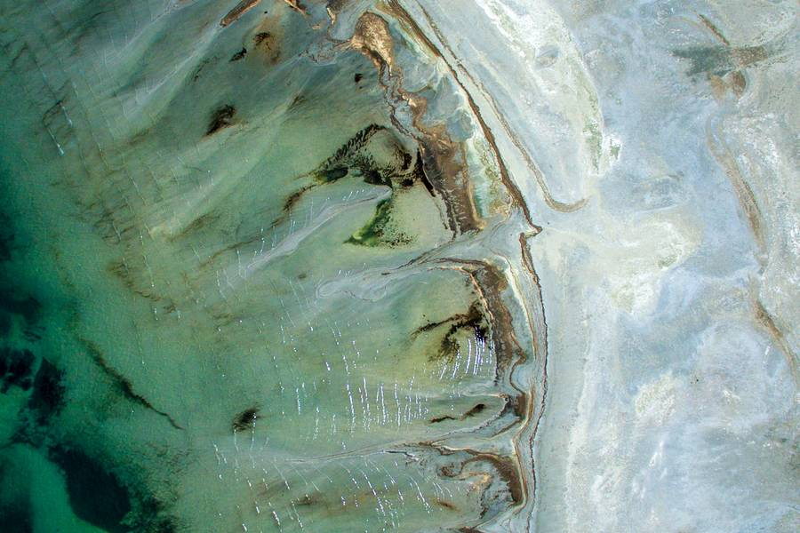 Aerial View of Ocean Shore Like Abstract Art free texture