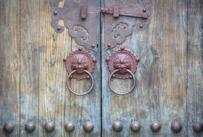 free Old Chinese Door with Knockers texture